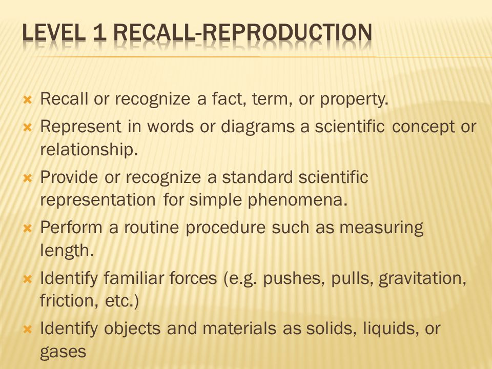 Level 1 Recall-Reproduction