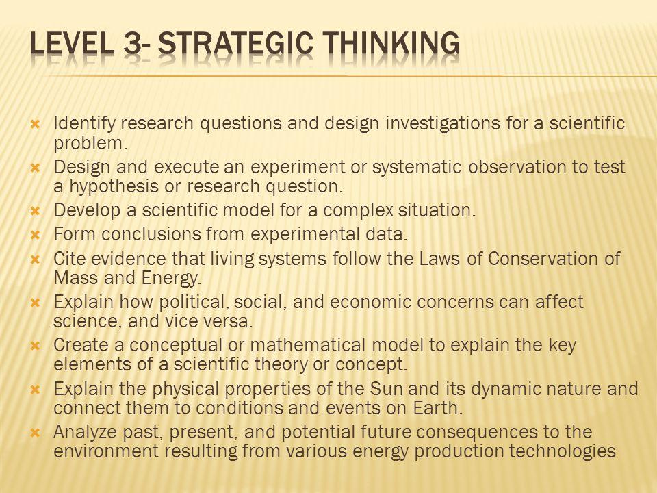 Level 3- Strategic Thinking