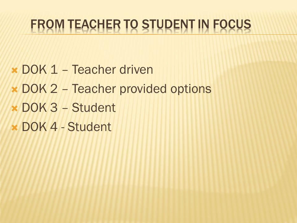 FROM TEACHER TO STUDENT IN FOCUS