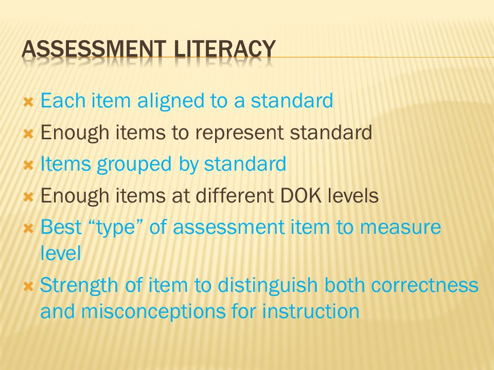 Assessment Literacy Each item aligned to a standard