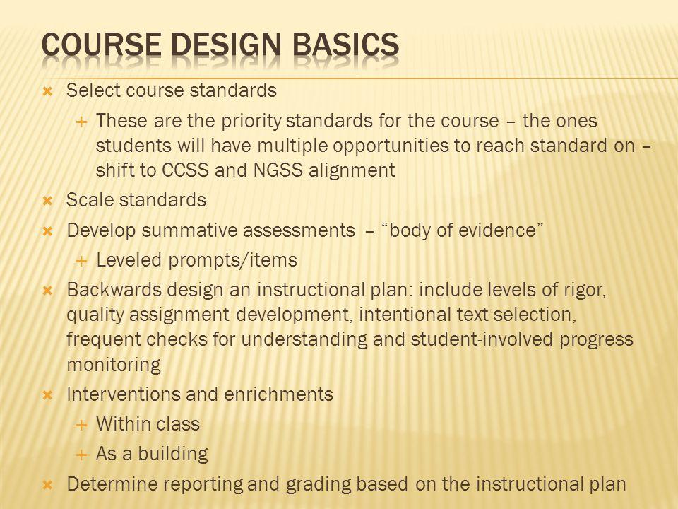 Course Design Basics Select course standards