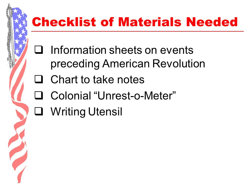 Checklist of Materials Needed