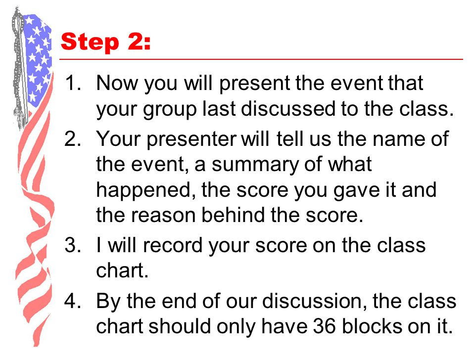 Step 2: Now you will present the event that your group last discussed to the class.