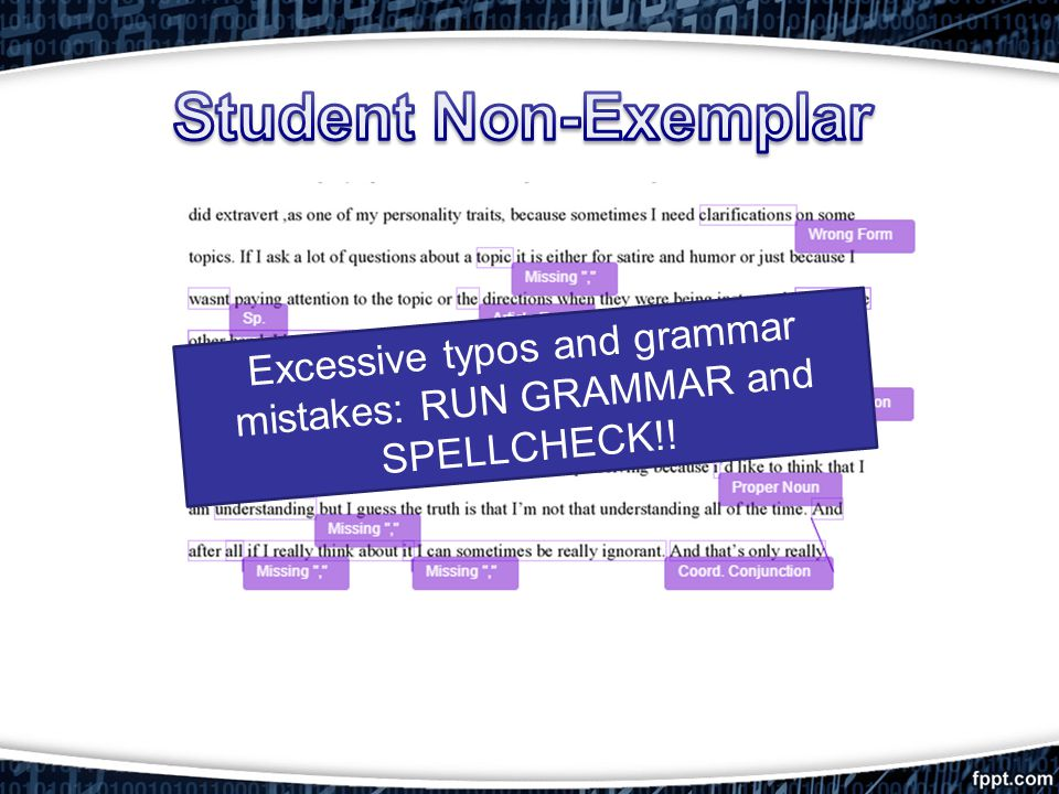 Excessive typos and grammar mistakes: RUN GRAMMAR and SPELLCHECK!!