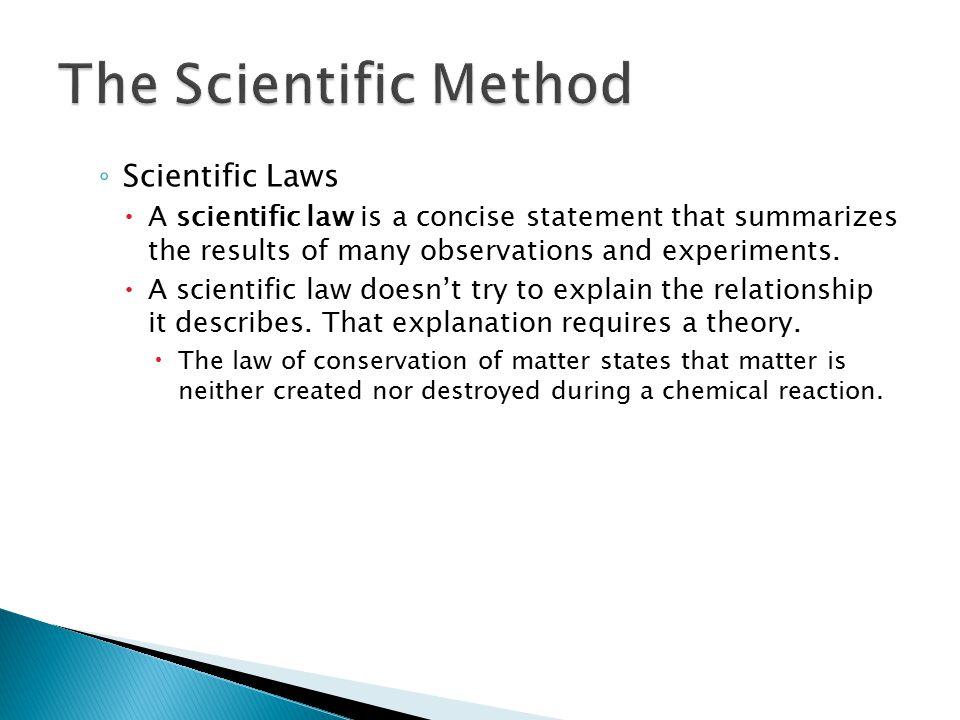 The Scientific Method Scientific Laws