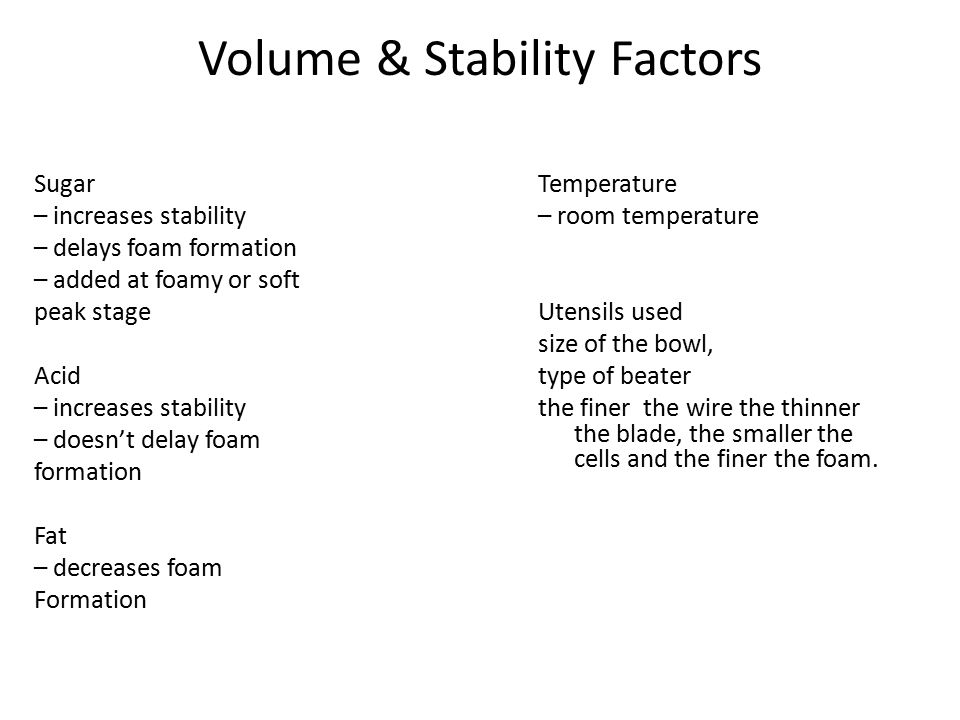 Volume & Stability Factors