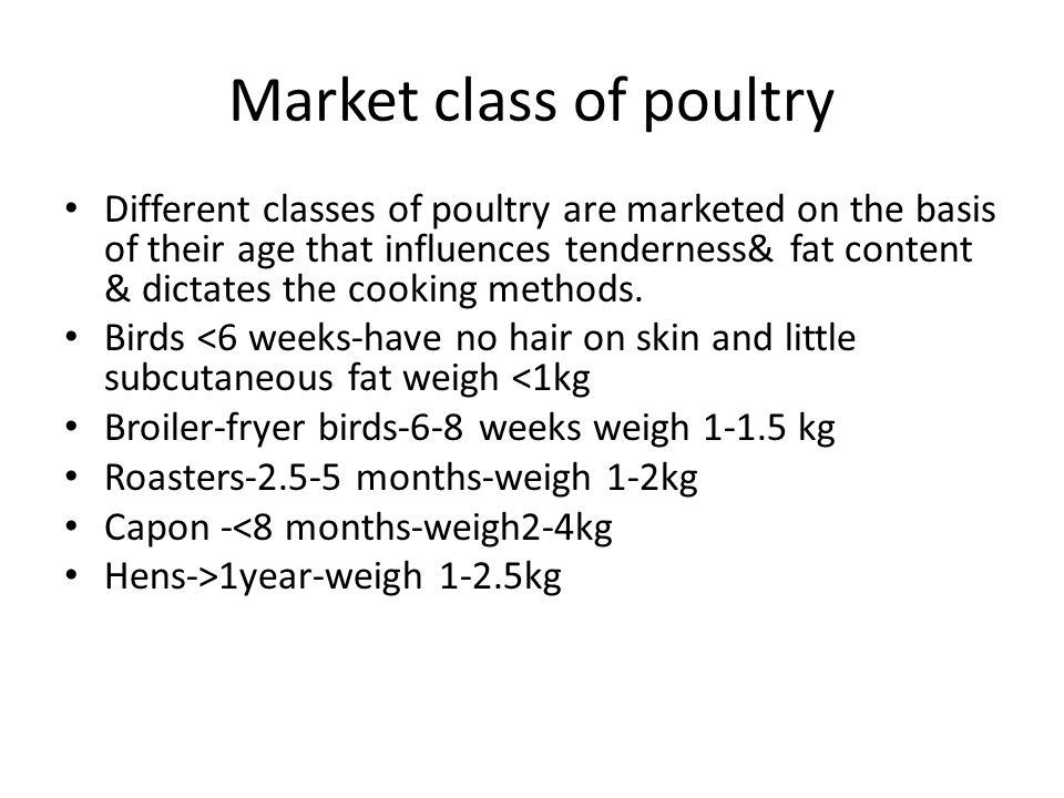 Market class of poultry