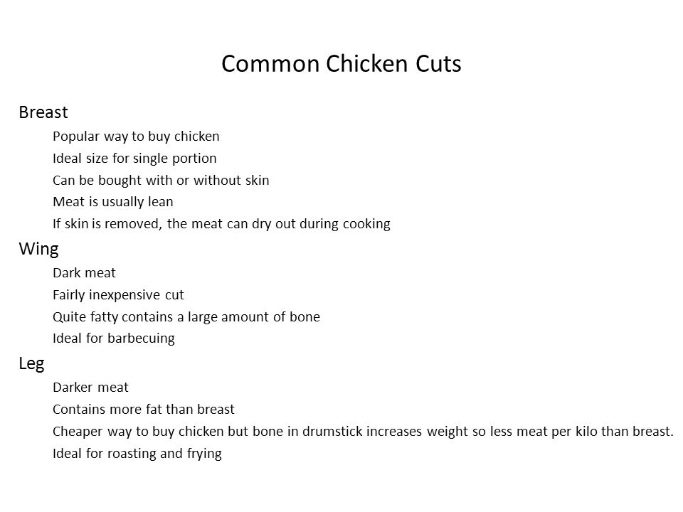 Common Chicken Cuts Breast Wing Leg Popular way to buy chicken