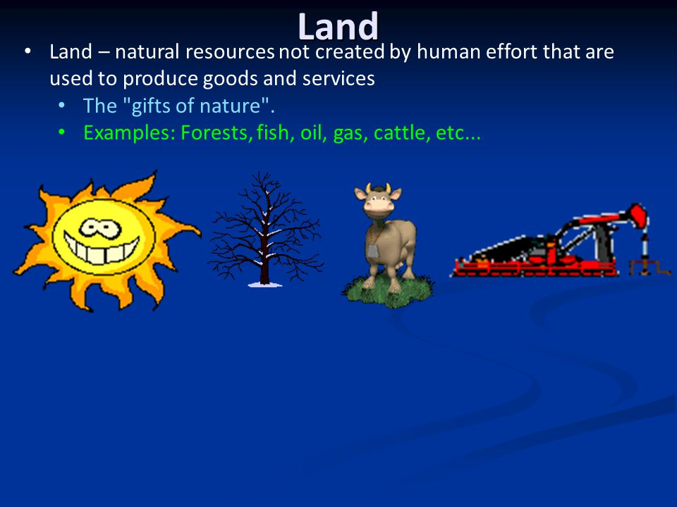 Land Land – natural resources not created by human effort that are used to produce goods and services.