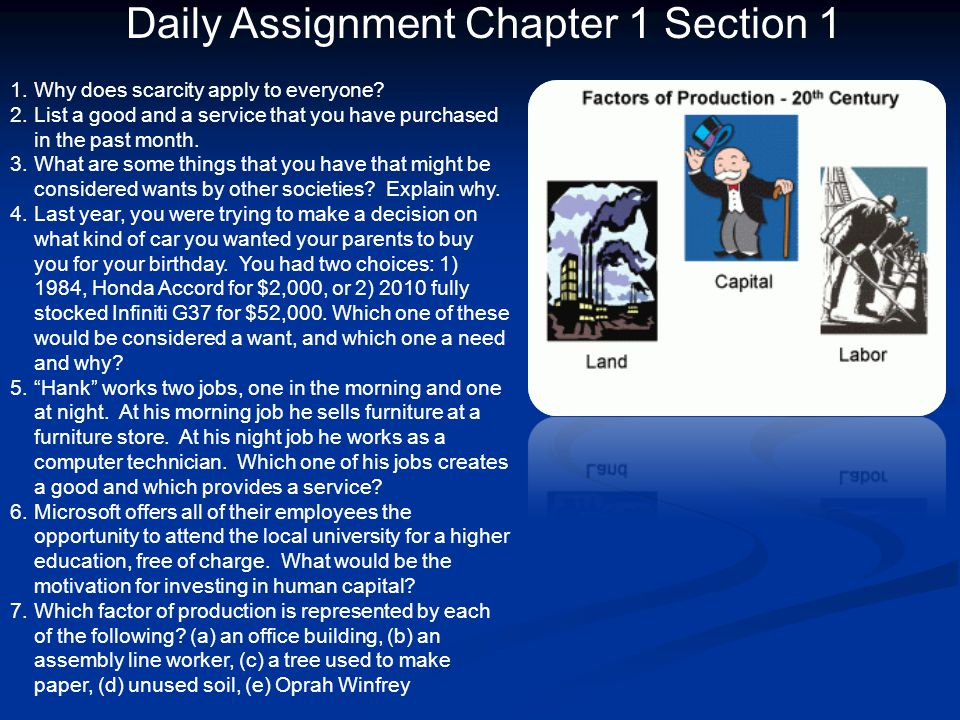 Daily Assignment Chapter 1 Section 1