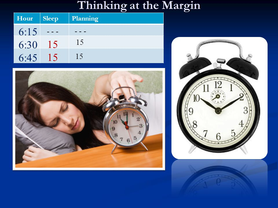 Thinking at the Margin 6:15 6:30 15 6:45 - - - - - - 15 15 Hour Sleep
