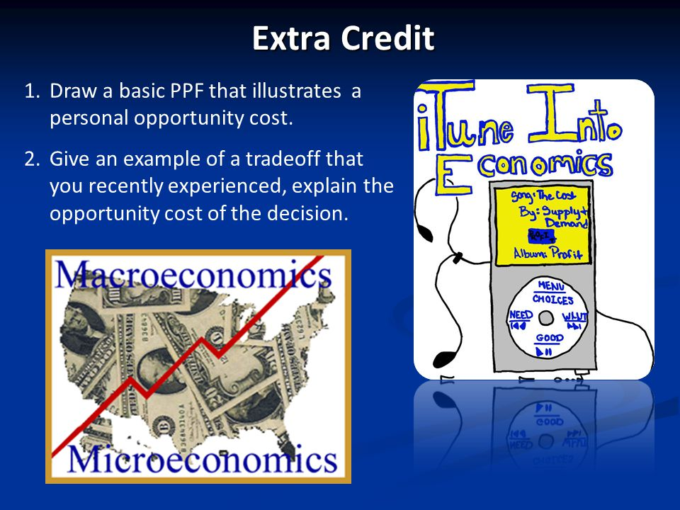 Extra Credit Draw a basic PPF that illustrates a personal opportunity cost.