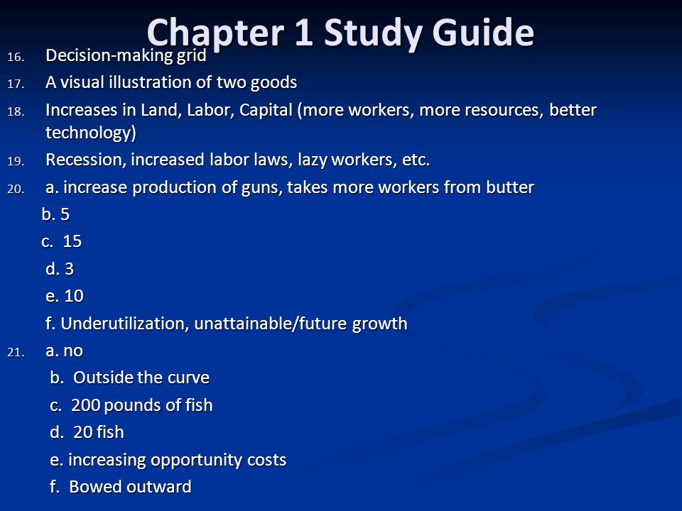 Chapter 1 Study Guide Decision-making grid