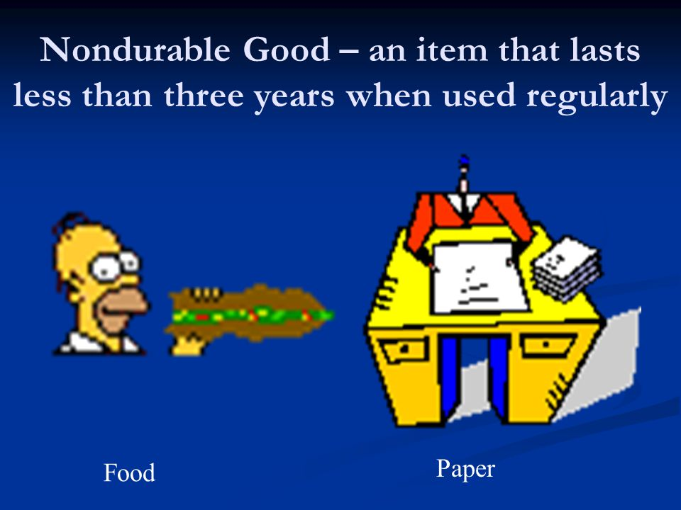Nondurable Good – an item that lasts less than three years when used regularly
