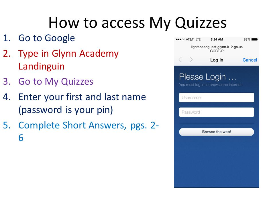 How to access My Quizzes