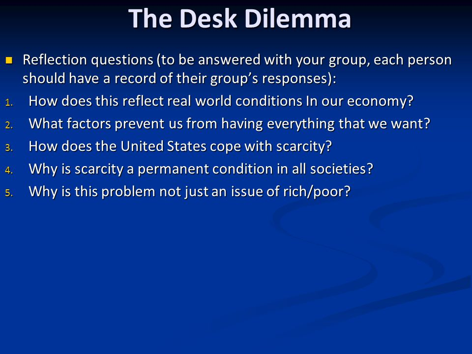 The Desk Dilemma Reflection questions (to be answered with your group, each person should have a record of their group's responses):