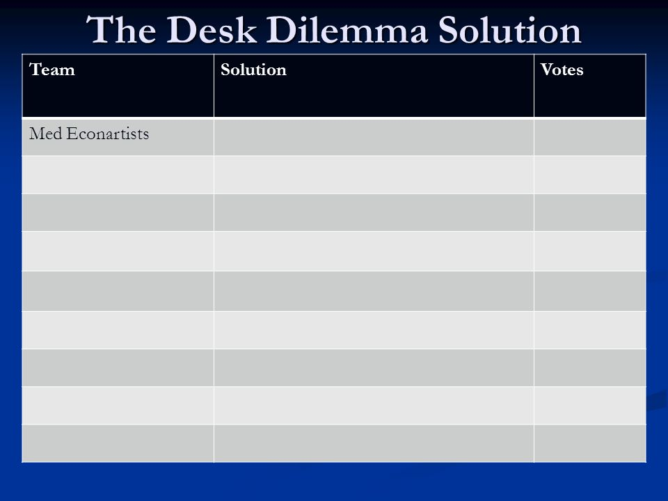 The Desk Dilemma Solution