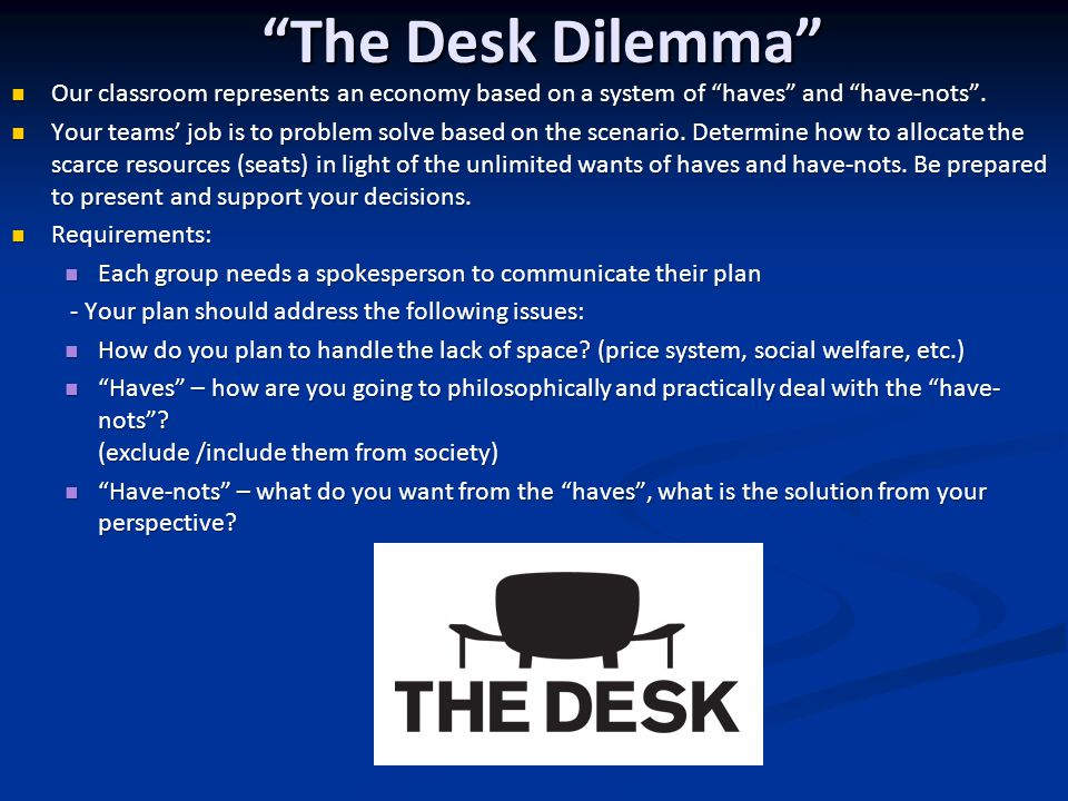 The Desk Dilemma Our classroom represents an economy based on a system of haves and have-nots .