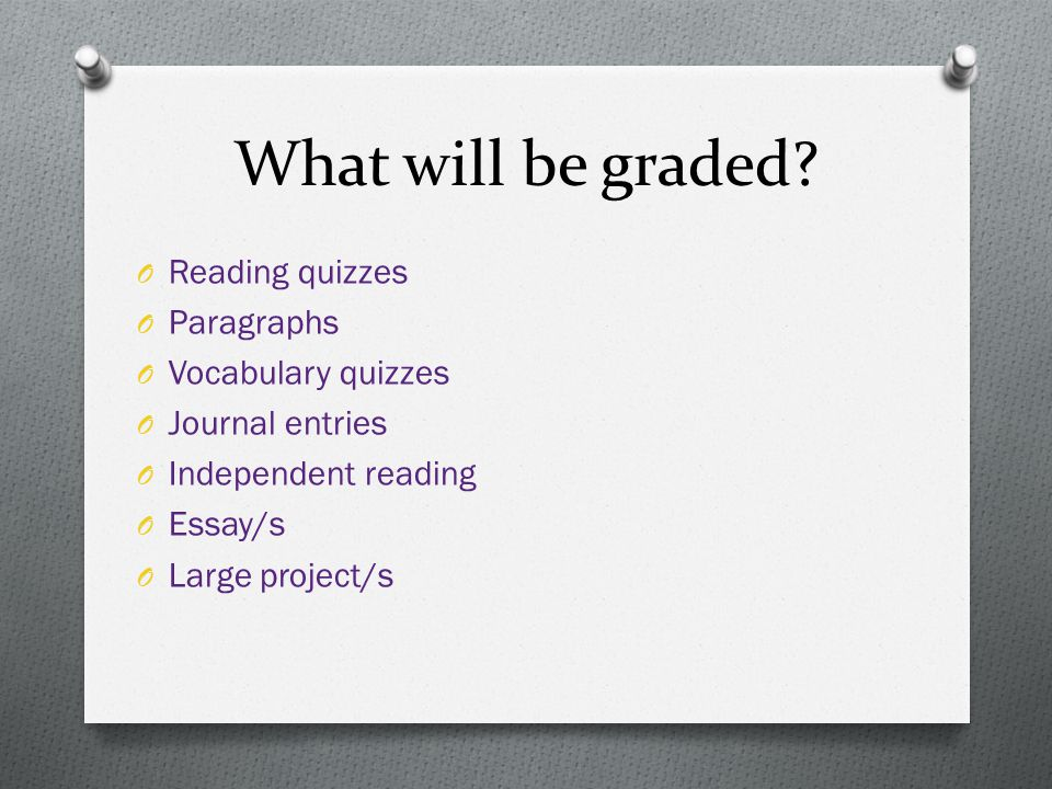 What will be graded Reading quizzes Paragraphs Vocabulary quizzes