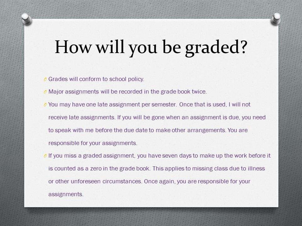 How will you be graded Grades will conform to school policy.