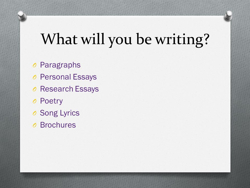 What will you be writing