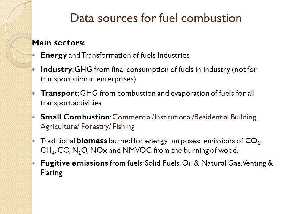 Data sources for fuel combustion