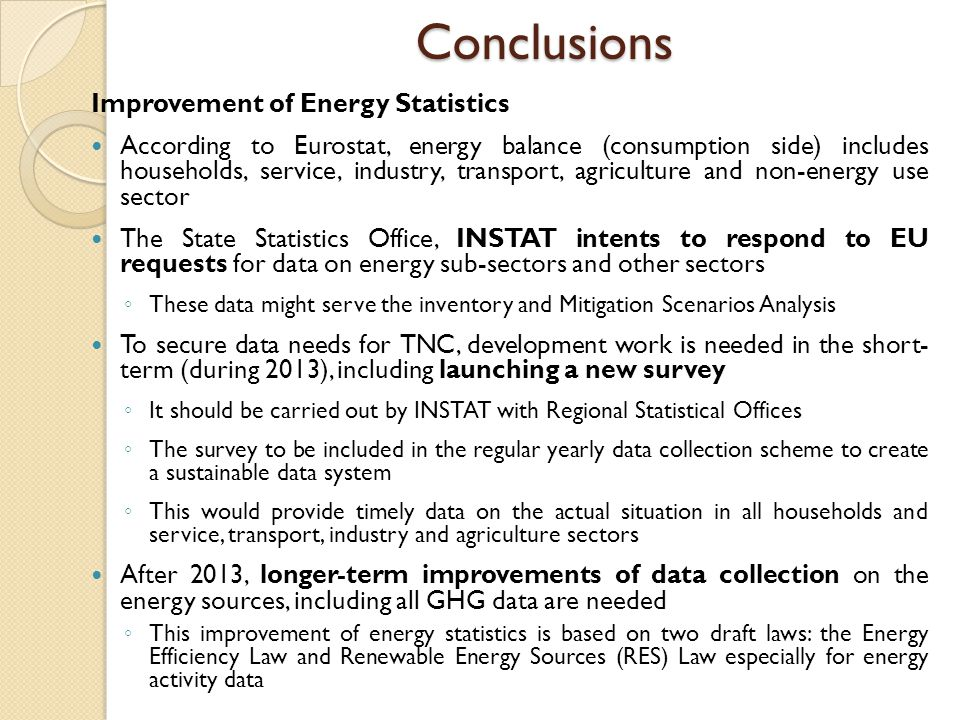 Conclusions Improvement of Energy Statistics