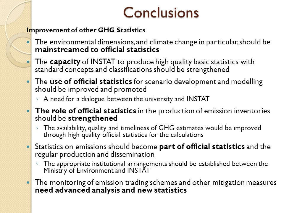 Conclusions Improvement of other GHG Statistics.