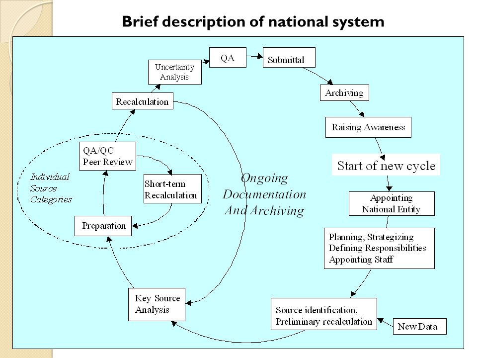 Brief description of national system