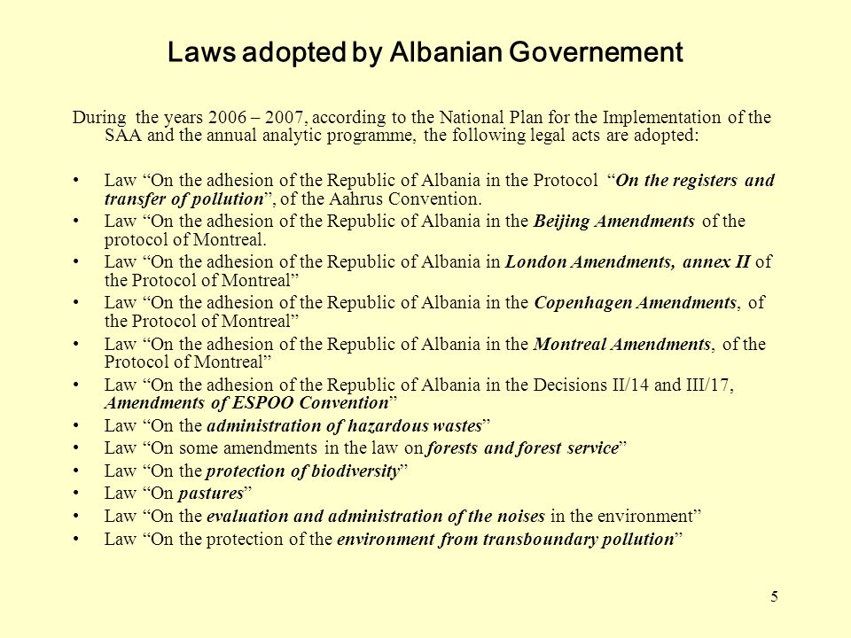 Laws adopted by Albanian Governement