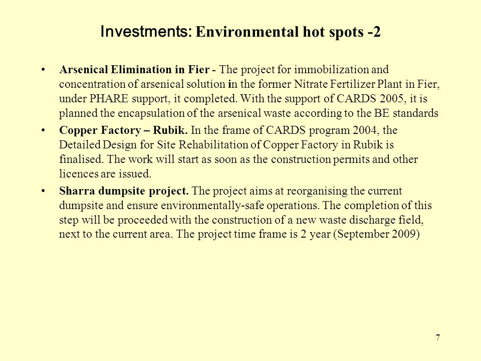 Investments: Environmental hot spots -2