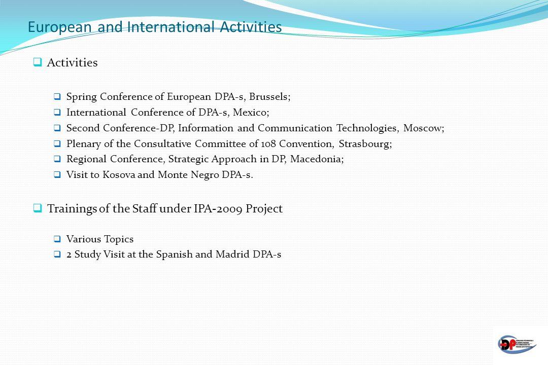 European and International Activities
