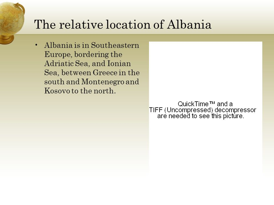 The relative location of Albania
