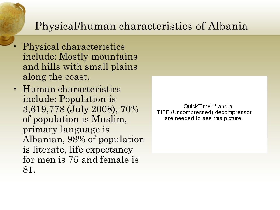 Physical/human characteristics of Albania