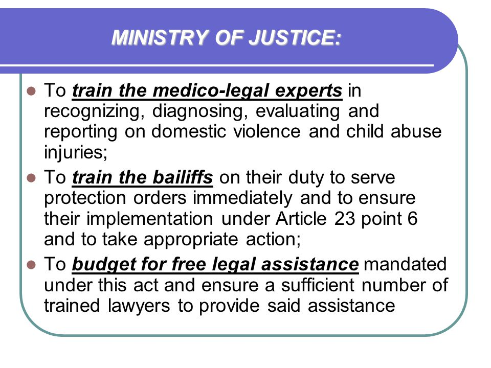 MINISTRY OF JUSTICE: