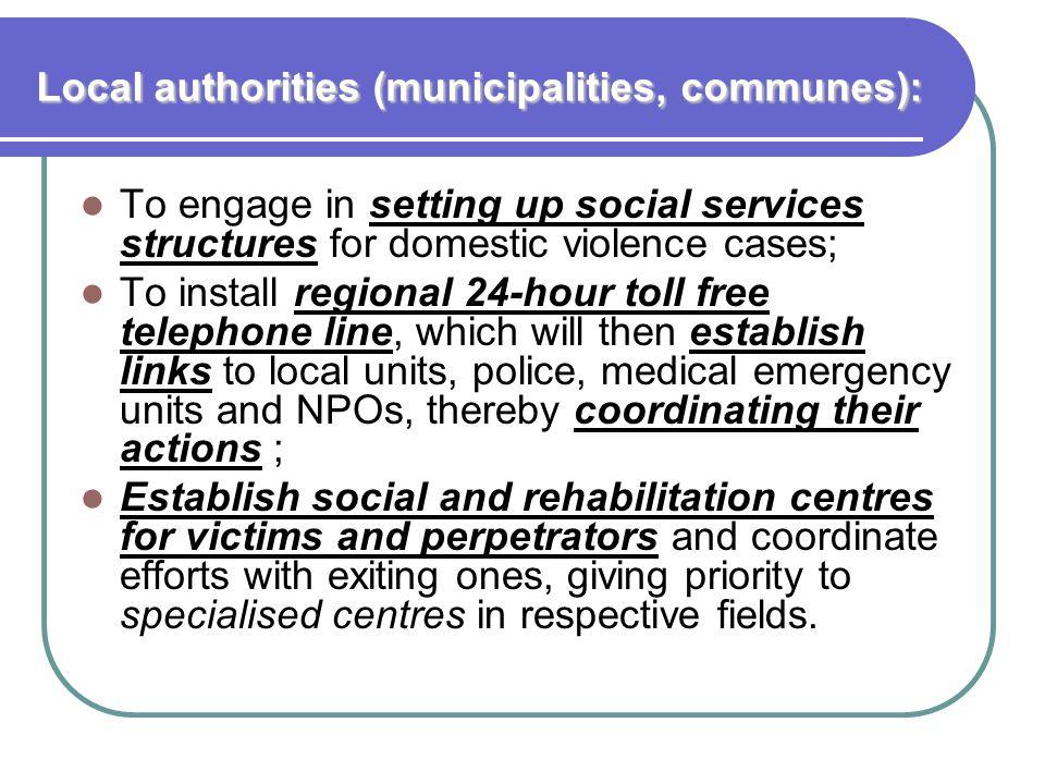 Local authorities (municipalities, communes):