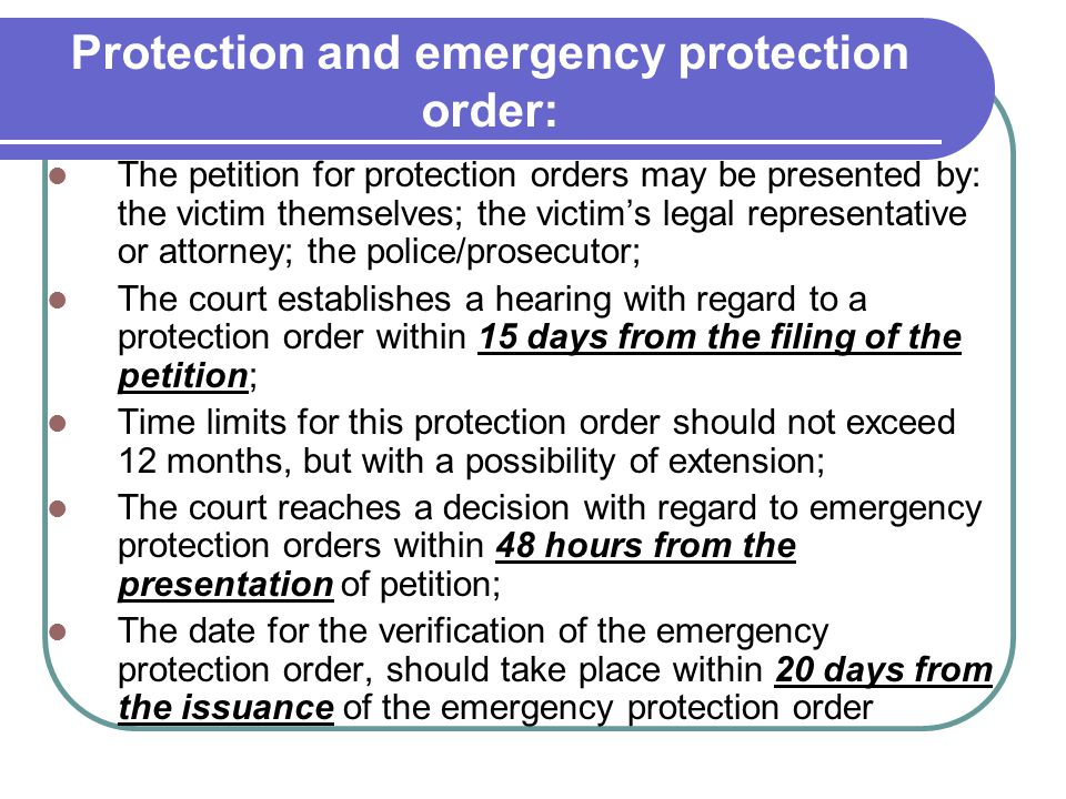 Protection and emergency protection order: