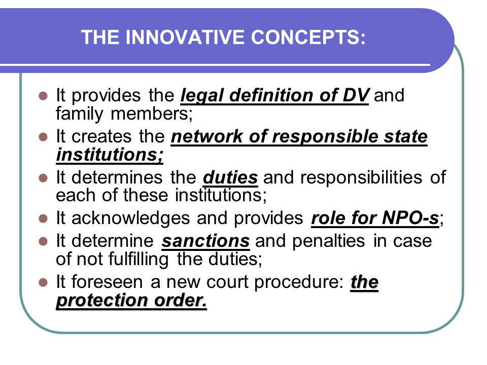 THE INNOVATIVE CONCEPTS: