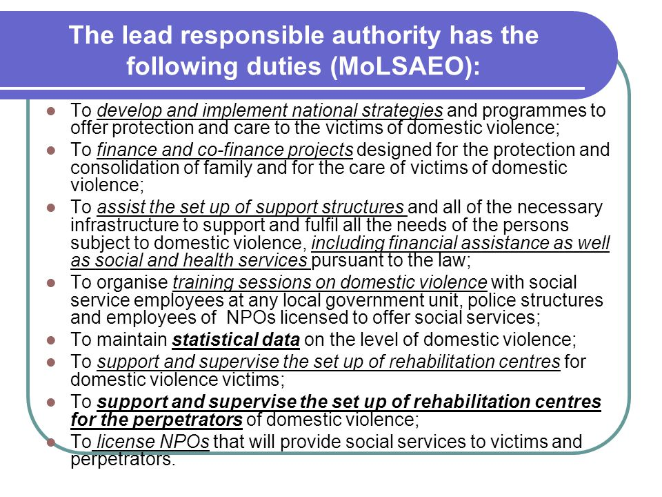 The lead responsible authority has the following duties (MoLSAEO):