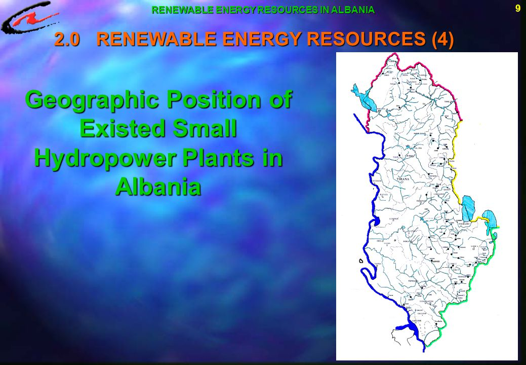 Geographic Position of Existed Small Hydropower Plants in Albania