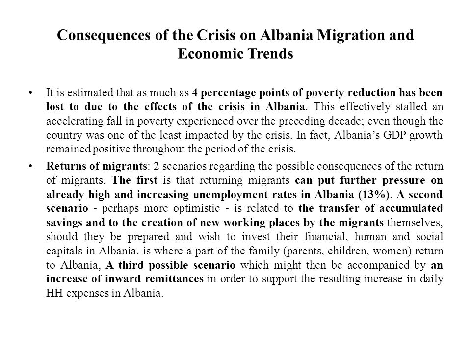 Consequences of the Crisis on Albania Migration and Economic Trends