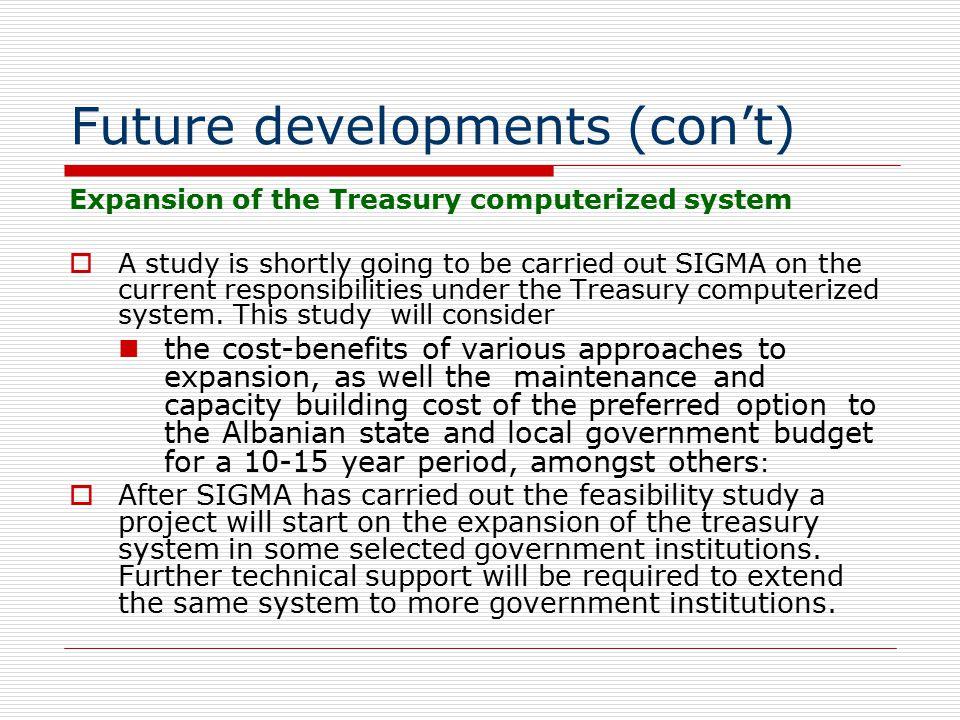 Future developments (con't)