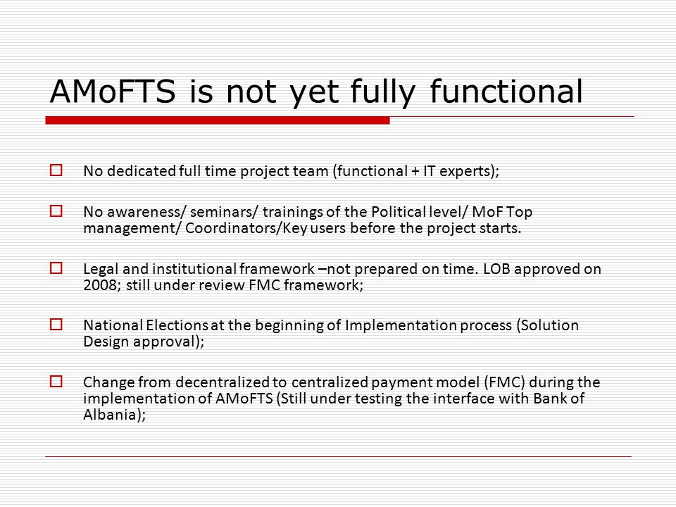 AMoFTS is not yet fully functional