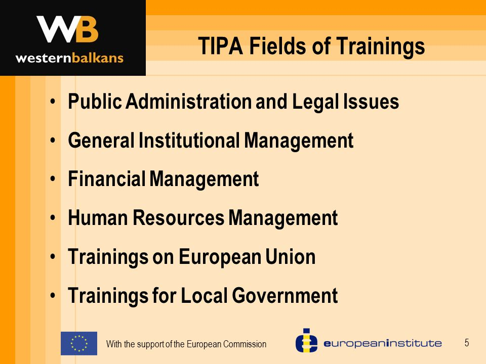 TIPA Fields of Trainings