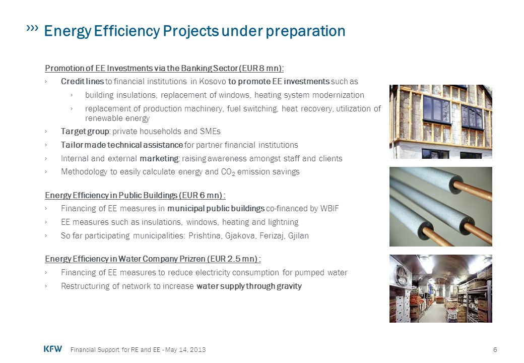 Energy Efficiency Projects under preparation