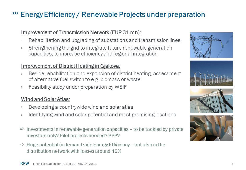 Energy Efficiency / Renewable Projects under preparation