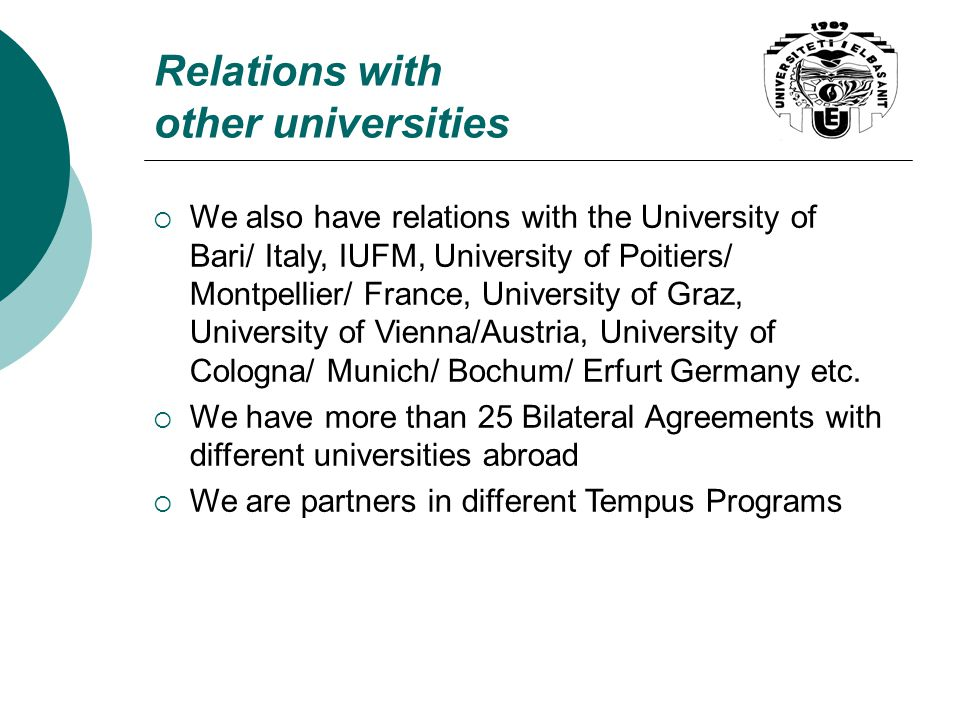 Relations with other universities