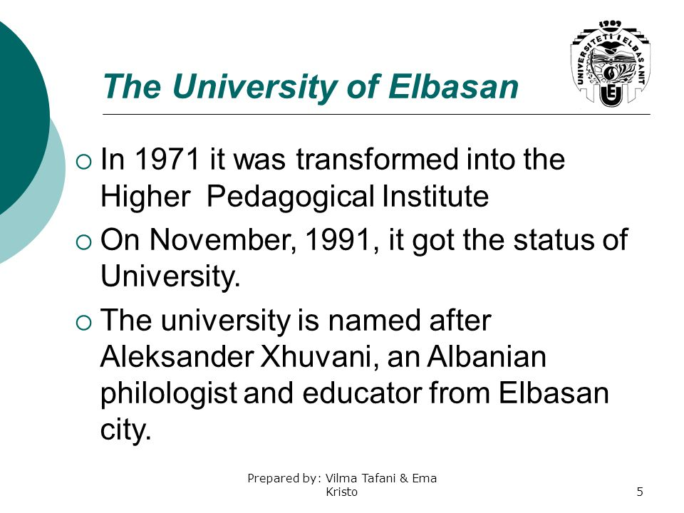 The University of Elbasan