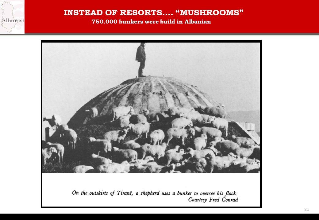 INSTEAD OF RESORTS.... MUSHROOMS 750.000 bunkers were build in Albanian