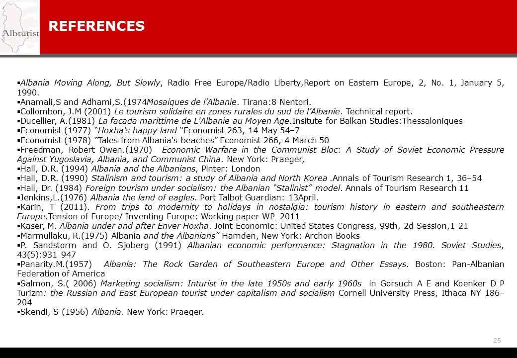 REFERENCES Albania Moving Along, But Slowly, Radio Free Europe/Radio Liberty,Report on Eastern Europe, 2, No. 1, January 5, 1990.